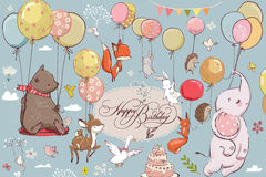 飞行与气球的逗人喜爱的动物 库存例证