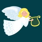 飞行与翼的圣诞节假日愉快的天使喜欢在基督徒宗教或新年传染媒介例证的标志 免版税图库摄影