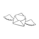 飞行的闭合的信封乱画与蜡心脏和翼的图片