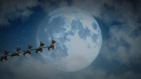 飞行与驯鹿的圣诞老人雪橇在圣诞夜满月特写镜头 库存例证