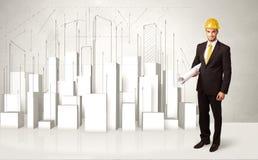 飞行与3d大厦的建筑工人在背景中 免版税图库摄影