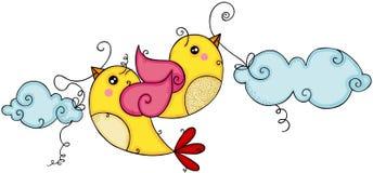 飞行两只黄色的鸟拿着蓝色云彩 库存例证