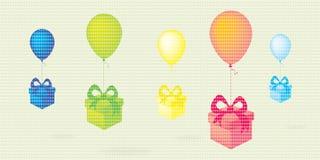 飞行五颜六色的有礼物盒的五颜六色的飞行气球加点传染媒介背景 免版税图库摄影