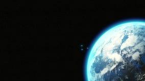 飞行从地球-电影生气蓬勃的3D,有蓝色光的反射性太空飞船的外籍人太空飞船飞碟茶碟 皇族释放例证