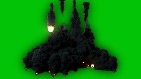 飞行从天空的流星或小行星的优质电影录影,点燃黑暗和 影视素材