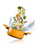 飞行入在白色背景的一个罐的新鲜蔬菜 免版税库存图片