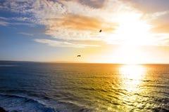 飞行入日落的两只鸟 图库摄影