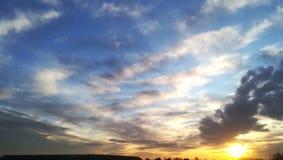 飞行入日落的鸟群  库存照片