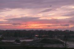 飞行反对橙色和紫色天空在日落,与地球有薄雾的土墩和大厦反对树 免版税库存照片