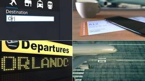飞行向奥兰多 旅行到美国概念性蒙太奇动画 股票视频