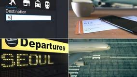 飞行向汉城 旅行到韩国概念性蒙太奇动画 股票录像