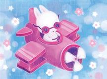 飞行员在一个假日赶紧乘飞机的野兔 免版税库存图片