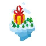飞行圣诞岛 礼品和圣诞树 免版税图库摄影