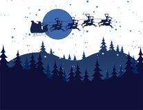 飞行圣诞老人的剪影例证 图库摄影
