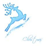 飞行圣诞老人的驯鹿 免版税库存图片