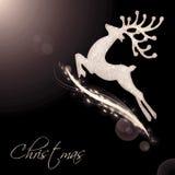 飞行圣诞老人的驯鹿 免版税图库摄影