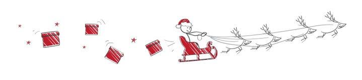 飞行圣诞老人 库存照片