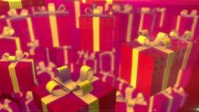 飞行圣诞节在红色背景的礼物盒 使成环的3d动画 皇族释放例证