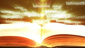 飞行在一本旧书外面的发光的词 股票视频