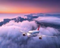 飞行在云彩的乘客飞机在日落 航空器 免版税库存照片