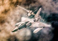飞行在云彩的军用战机 免版税库存照片
