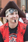 飞行在利物浦利物浦海盗节日的海盗旗 库存照片