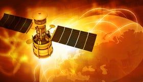 飞行在地球附近的卫星 免版税库存照片