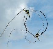 飞行在天空的两只风筝 免版税库存照片