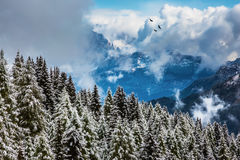 飞行在山的蓬松云彩 库存图片