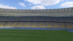 飞行在巨大的现代空的体育场里面 沿爱好者区段的运动 股票视频