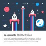 飞行在星和行星,儿童平的例证中的空间的太空飞船 免版税图库摄影