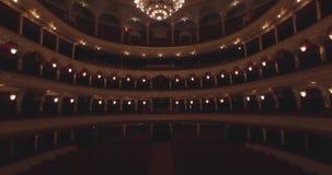 飞行在歌剧院里面 打开照明 影视素材