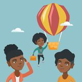 飞行在气球的勤勉雇员 皇族释放例证