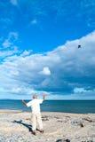 飞行在海滩的一只风筝 免版税库存照片