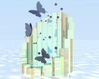 飞行在海洋上的蝴蝶 库存图片
