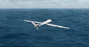 飞行在海洋3d翻译的寄生虫 免版税库存图片
