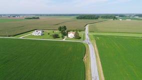 飞行在玉米和大豆领域和农场Smyrna特拉华的鸟瞰图 股票视频