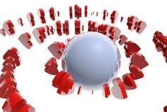 飞行在球形附近的红色心脏 免版税库存照片