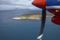 飞行在福克兰群岛 免版税库存照片