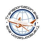 飞行在空中运输的行星标志的背景 免版税库存照片