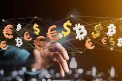 飞行在网络connectio附近的美元、欧元和Bitcoin标志 免版税库存照片