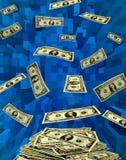 飞行在蓝色抽象的美元 免版税库存照片