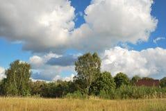 飞行在蓝色湖的云彩在夏天 库存照片