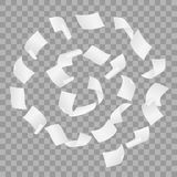 飞行在风的螺旋行动的白色白纸简单的传染媒介在透明背景 免版税库存照片