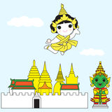 飞行在鲜绿色菩萨寺庙我的闪电的泰国女神 皇族释放例证