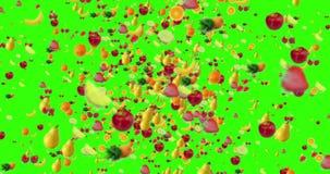 飞行在绿色屏幕色度钥匙背景的漩涡的数字式果子与逐渐消失,无缝的圈 皇族释放例证