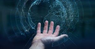 飞行地球商人3D rende激活的网络界面 免版税库存照片