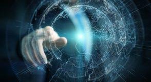 飞行地球商人3D rende激活的网络界面 免版税库存图片
