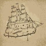 飞行城堡船 库存图片
