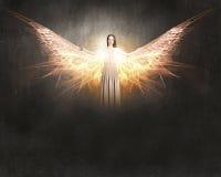 飞行天使的女孩高 库存照片